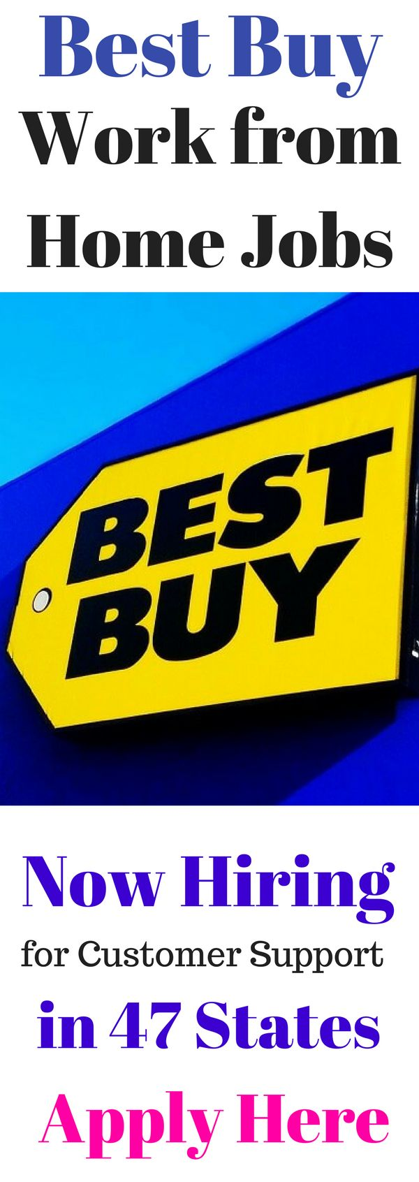 Work from Home Jobs at Best Buy. Legitimate, High Paying Work at Home Jobs from Best Buy. Best Buy is Now Hiring Stay at Home Moms, Work at Home Moms and Dads for Customer Support Positions in 47 States.