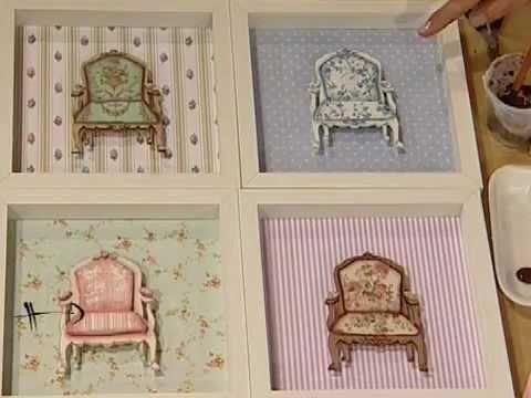 Como hacer decoupage en cuadros calados con sillones