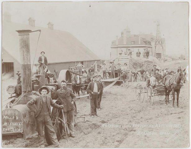 Thrashing, c 1900, Brandon, Manitoba History Historic Historical Photos Photographs Pics Pictures Vintage Old West Canadian Settlement Prairies