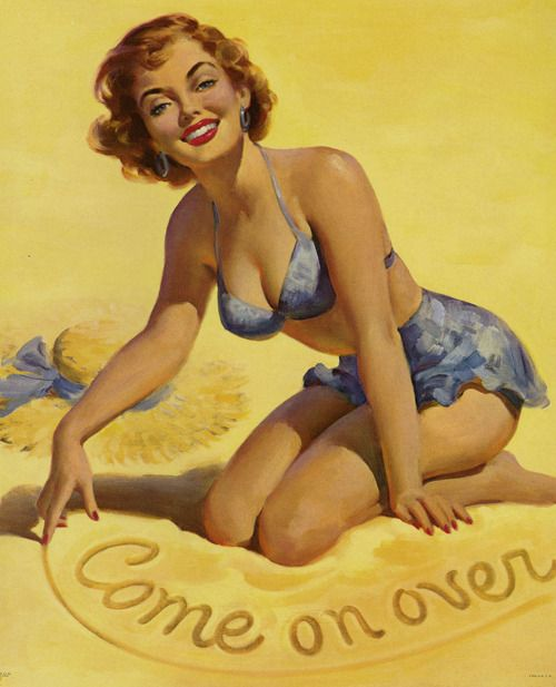 """gmgallery:  """"Come on Over"""" by Art Frahm, 1940s www.stores.eBay.com/GrapefruitMoonGallery"""