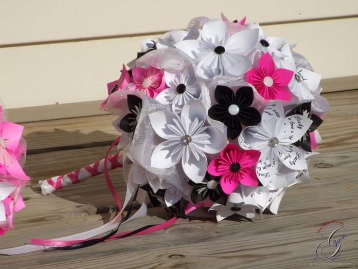 Paper Flower Bridal Bouquet With Writing