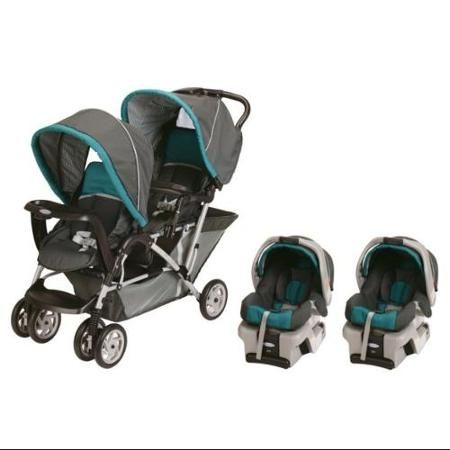 Graco DuoGlider Folding Double Baby Stroller w/ 2 Car Seats Travel Set|Dragonfly