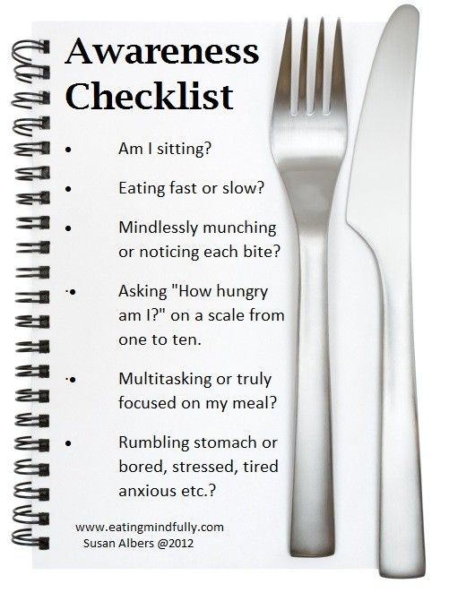 Mindful Eating Awareness Checklist | Eating Mindfully | Mindful Eating | Dr. Susan Albers | Author