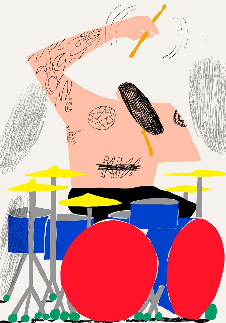 Antti Kalevi, action, drummer, rock, colour, shape, cut-out, character