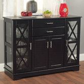 """Found it at Wayfair -TMS Aria Buffet, SKU #: TXR1798, $295. Black finish, One adjustable shelf behind the wood doors for storage 2 Drawers Constructed of MDF and tempered glass.X style door with two adjustable tempered glass shelves on each side. 35.4"""" H x 47.25"""" W x 15.75"""" D, 110 lbs."""
