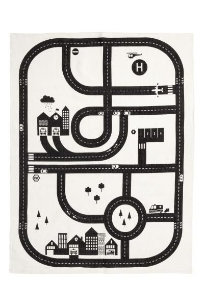 Print-motif cotton rug - White/Car track - Home All | H&M GB 1