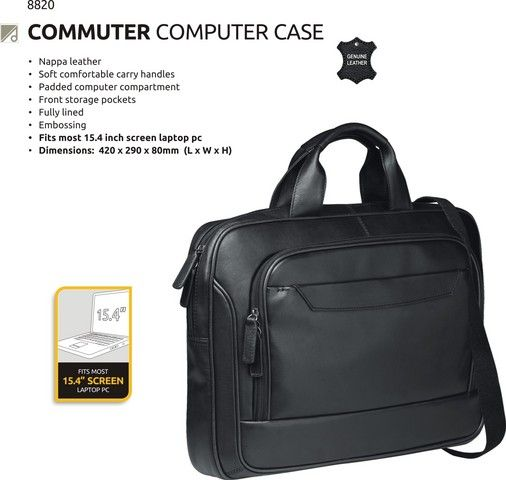 The Commuter Computer Case has soft comfortable carry handles, a padded computer case and front storage pockets. Material: Leather #brandability #corporategifts #laptopbags