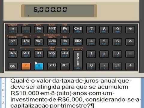 HP 12C Taxa de juros anual Calculadora HP12C Juros acumulados Matemática...