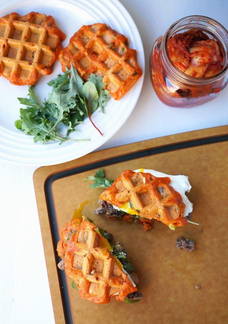 Miss Hangrypants: Bulgogi Kimchi-jeon Waffle Sandwich - 불고기 김치전 와플 샌드위치