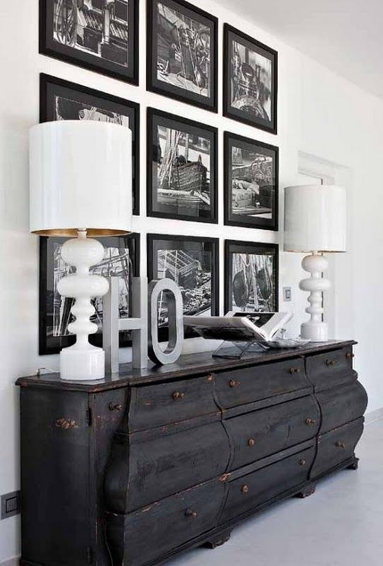 Photo wall: White Lamps, Black Dressers, Photo Display, Black Frames, Black And White, Decoration Idea, Photo Wall, Black White, Pictures Wall