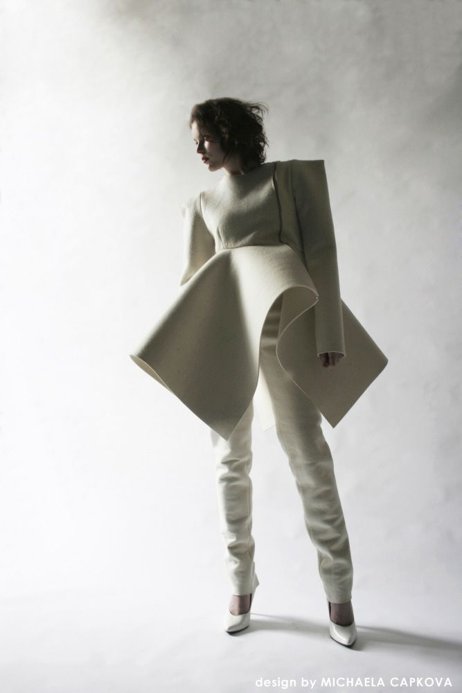 Sculptural fashion construction with square shoulders & bold 3D silhouette // Michaela Capkova