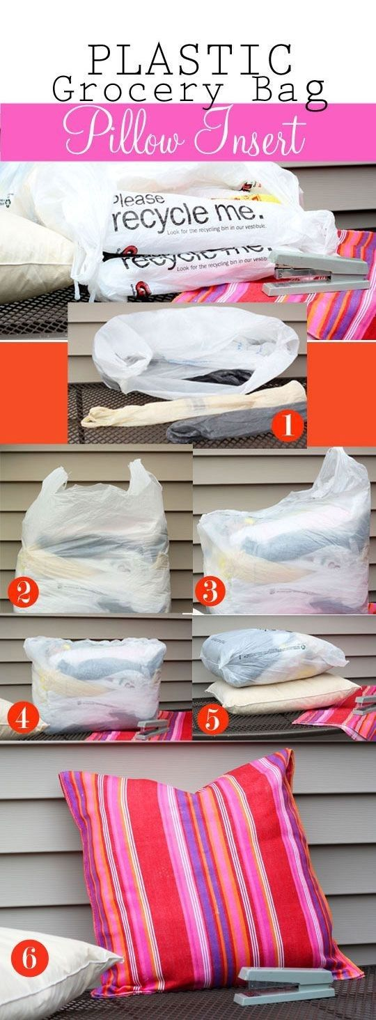 If you already have throw pillows, make them patio-ready by using a grocery-bag insert. | 51 Budget Backyard DIYs That Are Borderline Genius