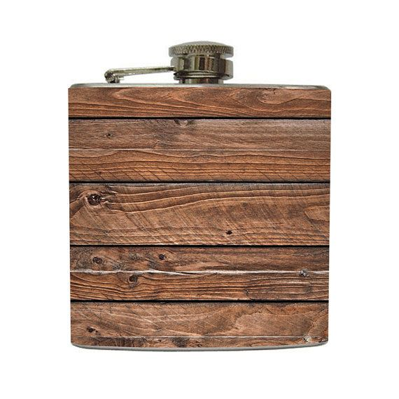 Distressed Brown Old Barn Wood Whiskey Flask by LiquidCourage, $20.00