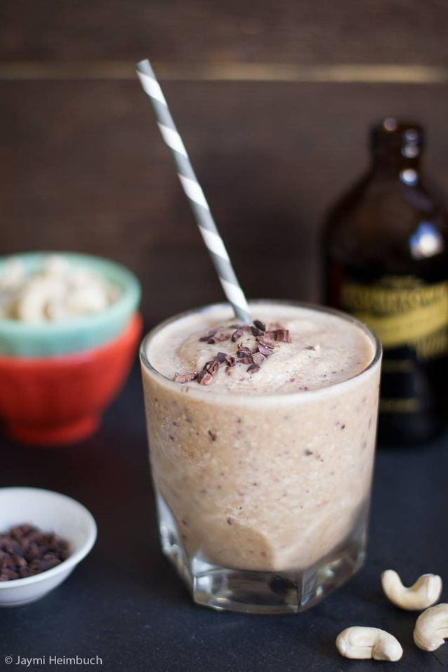Coffee Cashew and Cacao Nibs Protein Smoothie made from Stumptown Cold Brew Coffee.