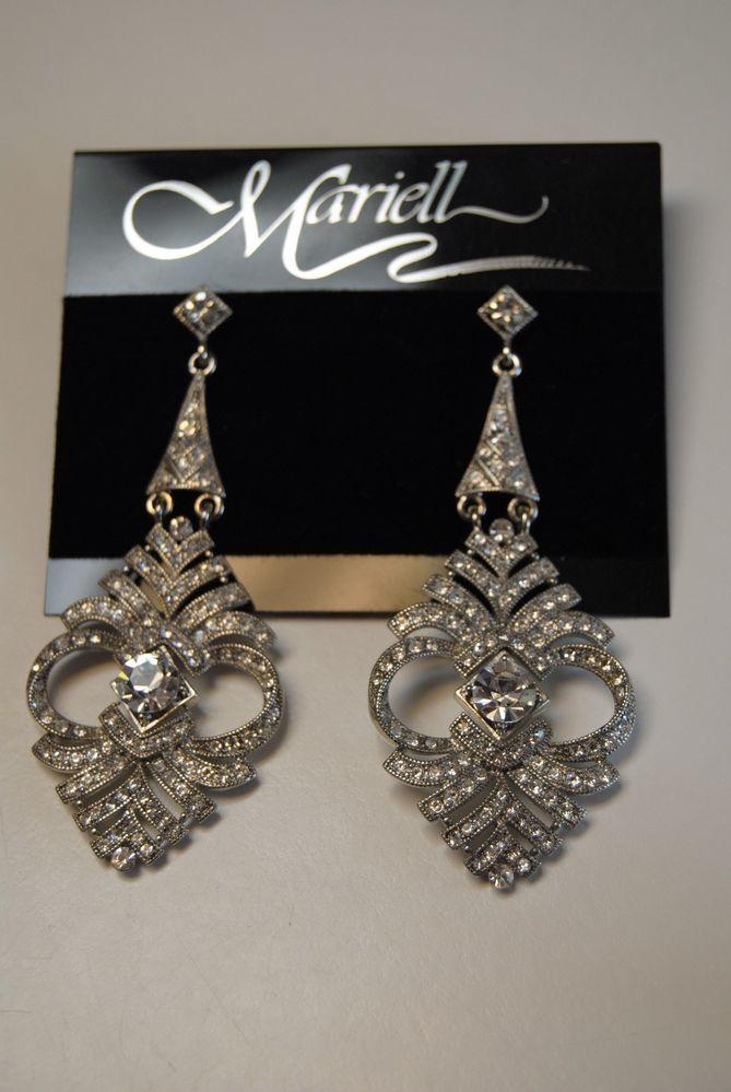 Cubic Zirconia Chandelier Earrings by Mariell, Silver Tone #Mariell #Chandelier