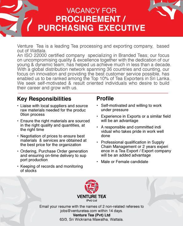 Procurement Purchasing Executive Job Vacancy In Sri Lanka Executive Jobs Execution Procurement
