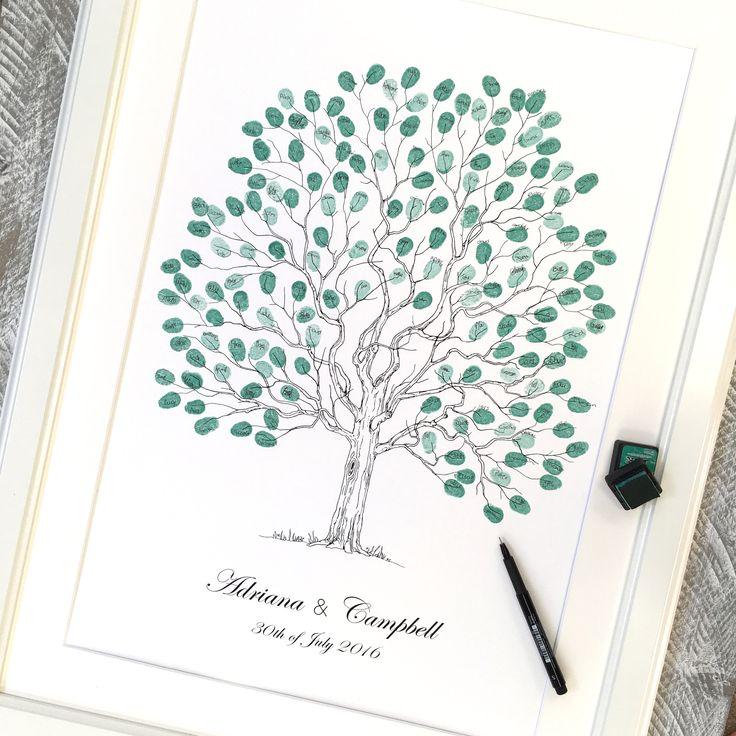 """Wedding tree Fingerprint guest book. A2 size """"Elegant Tree"""" design, by Daisywood, fingerprint guest books."""