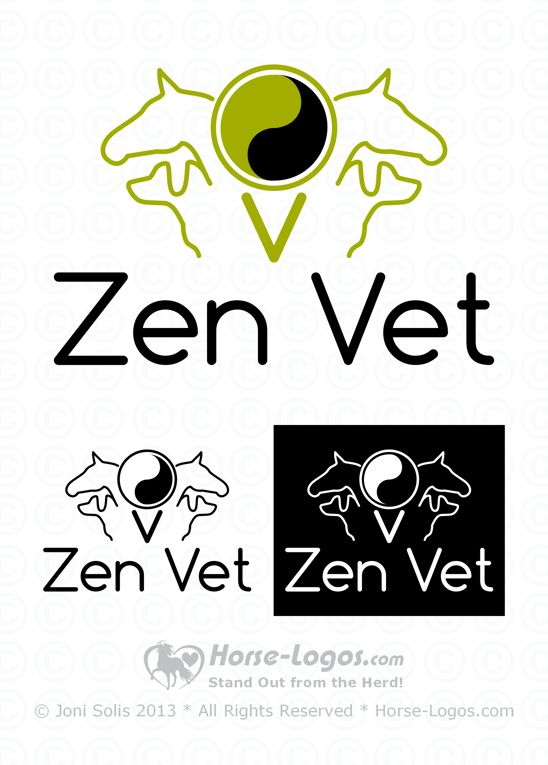 A two color horse logo design for veterinary practices that service horses and dogs (small animals). You may choose the colors for this logo. #horselogo #horse #logo
