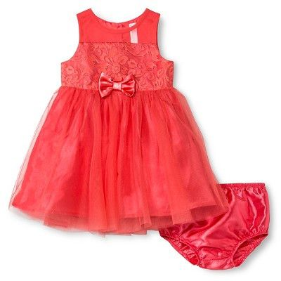 Infant Girl's Special Occasion Dress, Coral 18M