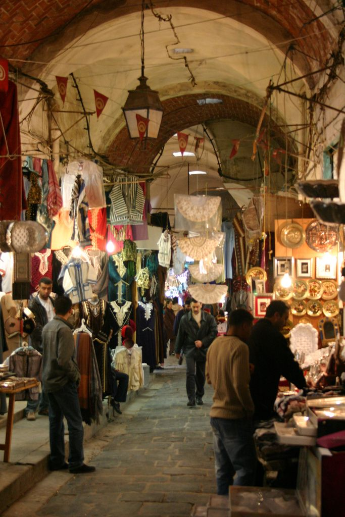Tunis Souk, Tunisia- I once tried to bargain the price of a handbag up in a souk like this one!