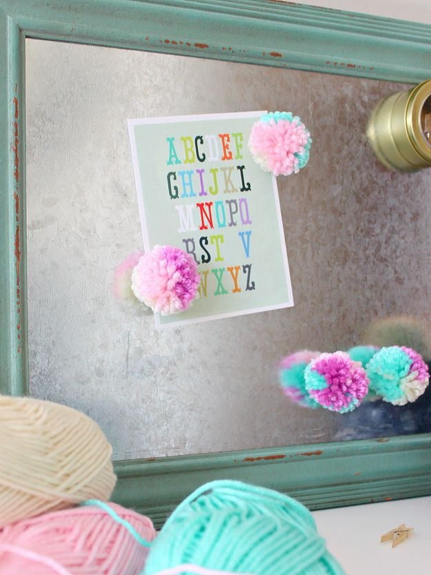 DIY Multicoloured Pom Pom Magnets which is a feature from Waste Not Wednesday-47 by White House Crafts | www.raggedy-bits.com
