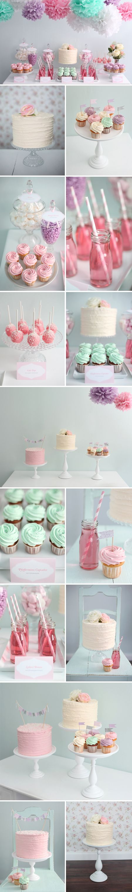 Dessert table - would change the colors to various shades of aqua for my sweet little boy. I am crazy for already planning his 1st birthday party - he's just 5 weeks old!