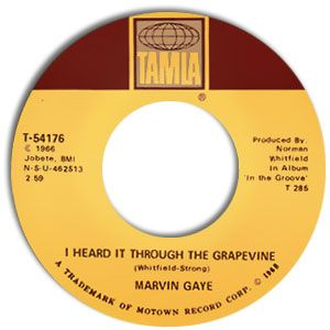 45's labels of top song titles in the 50's   Classic Motown Style 45: Marvin Gaye--I Heard It Through The Grapevine ...