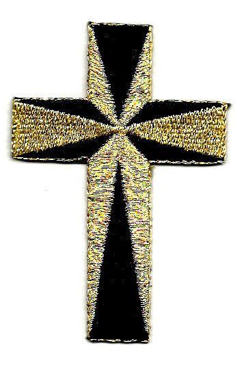 "Cross - Black/Metallic Gold Iron On Applique Patch - 2""High"