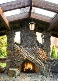 outdoor stone fireplace...amazing lines