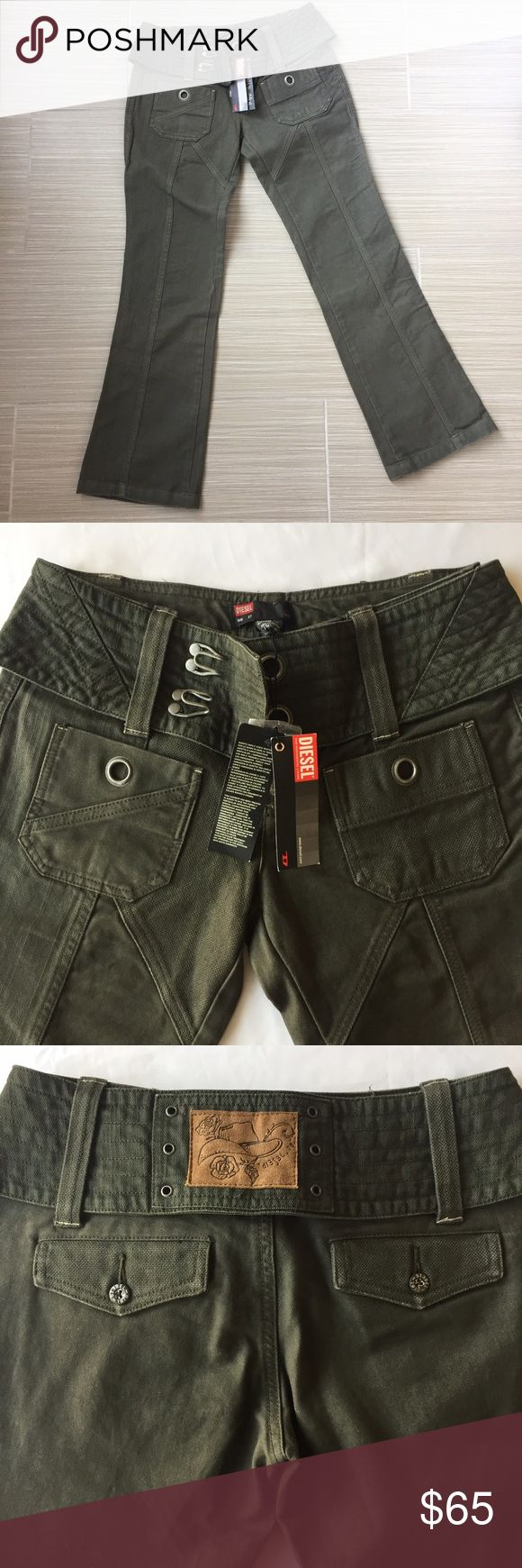 Diesel Pants Olive green utility pants. Purchased out of the country. Diesel Pants Boot Cut & Flare