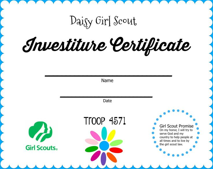Investiture Certificate I Made For My Troop Simple And