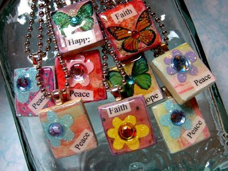 DIY- Mod Podge Simple Scrabble Tile Pendants~ fun gift idea or holiday or party activity.  (the link to tutorial on the same site is at the bottom- click on the word here.)