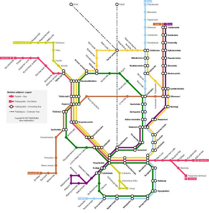 Tram Map Helsinki Finland