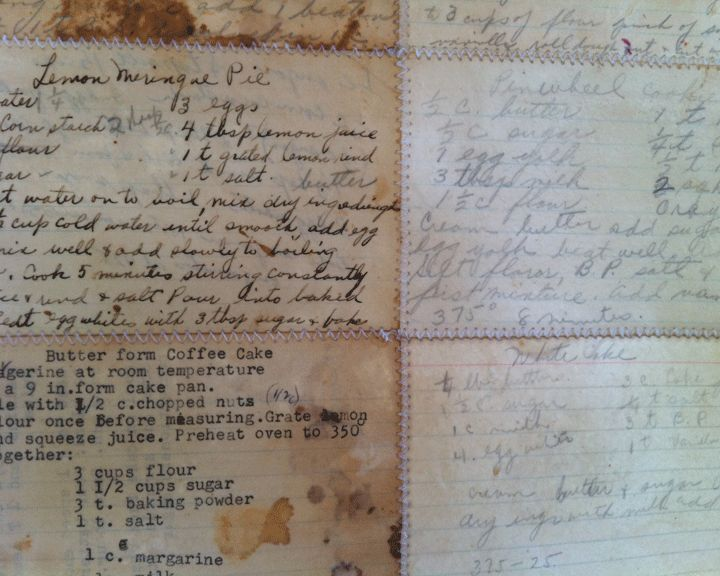 My moms recipes sewn together and encausticated. www.daniellawoolf.com