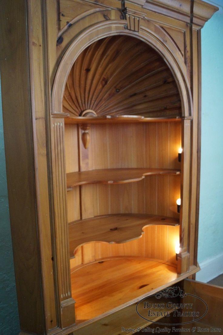 harden large pine shell carved goddard corner cabinet
