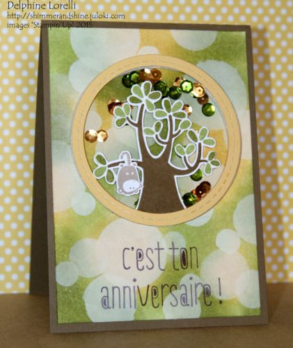 Shimmer and Shine - Possum Shaker Birthday card - #Bokeh #StampinUp, #Nuts About You