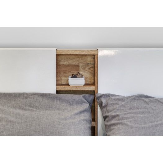 Mash Studios LAX Series Wood And Metal Panel Headboard Hidden Bookcase  Shelving