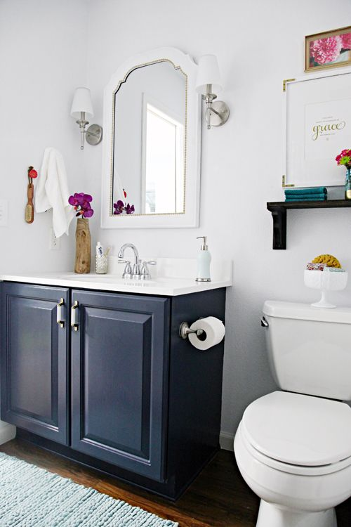 i like this blue painted bath vanity how we save on purchases for the home bath pinterest. Black Bedroom Furniture Sets. Home Design Ideas