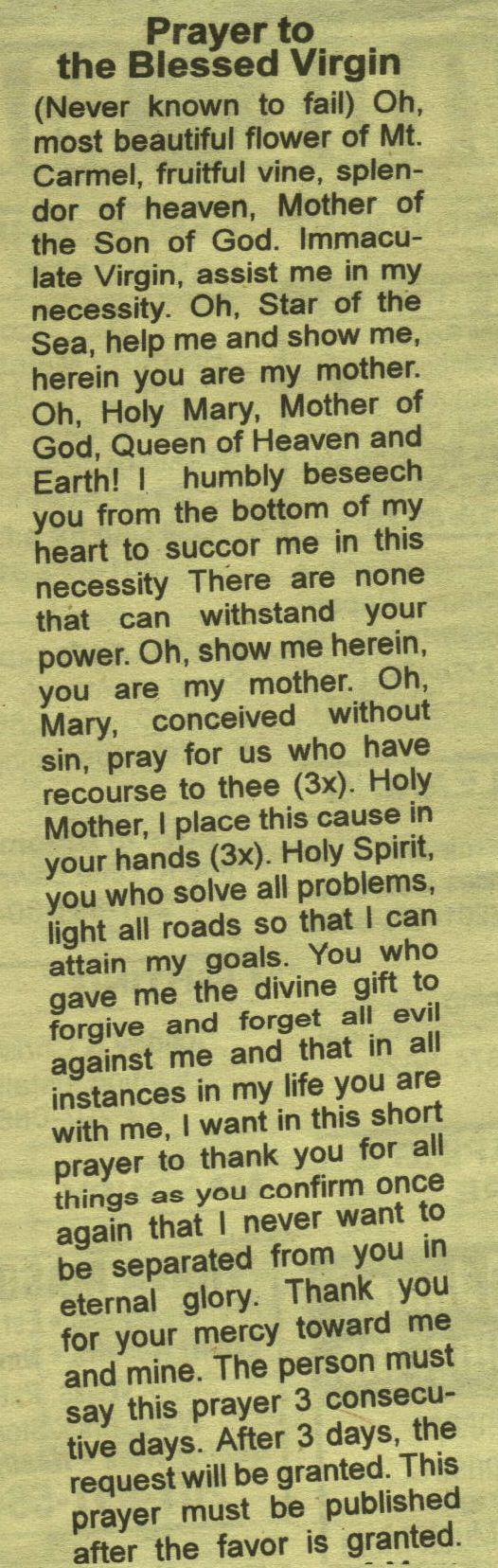 Prayer to the Blessed Virgin (Never Known To Fail)