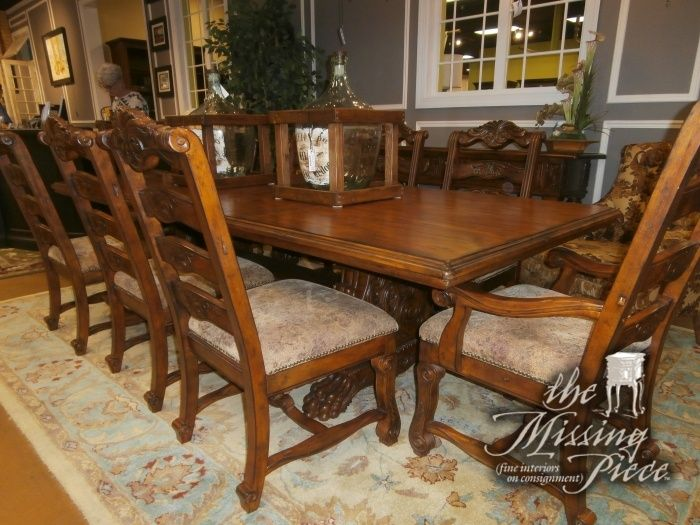 Beautiful Broyhill dining table with eight chairs and two leafs  This  French Mediterranean style piece is perfect for a large dining area Best 25  Mediterranean dining tables ideas on Pinterest  . Mediterranean Style Dining Room Chairs. Home Design Ideas