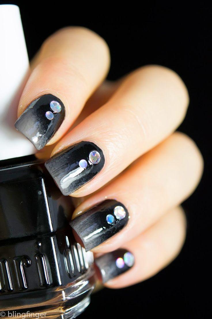 black gradient nail art