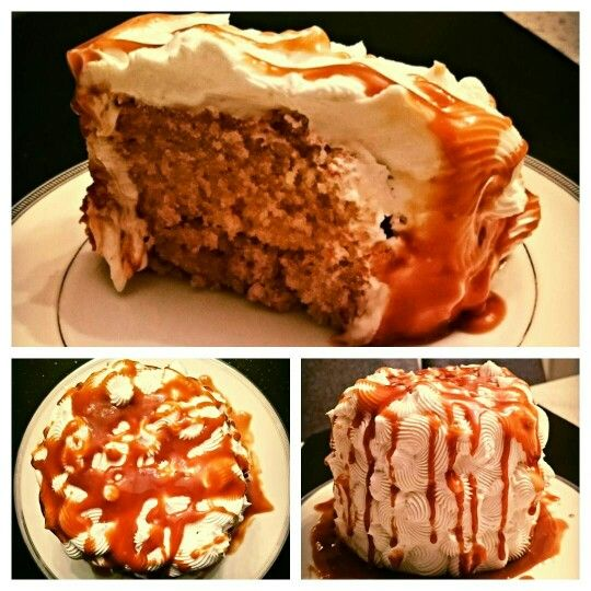 Almond-maple minicake with whipped cream and maple sauce