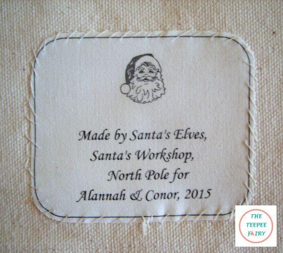 Custom Teepee Santa Label Fairy Label by TheTeepeeFairy on Etsy