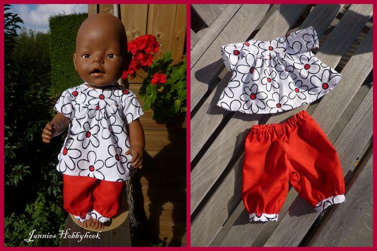 Tuniek en broekje voor de zomer.... voor de Baby Born 43 cm. Patroon Hobbydoos