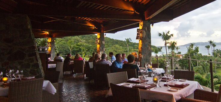 ZoZo's at Caneel Bay Resort. Wonderful Northern Italian / Caribbean upscale menu served with a stunning sunset view of Caneel Bay and plantation ruins!