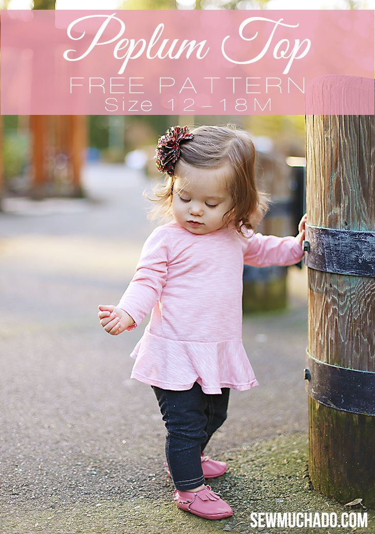 This girl's peplum top free pattern is sized 12-18M and is a fun and easy sew! Make a comfortable knit top for your little girl in no time!