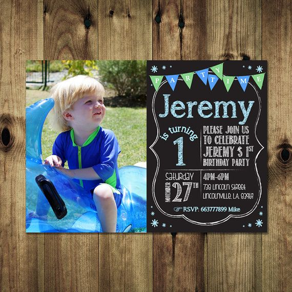Boy 1st Birthday Invitation Bday_inv_014 by PapierMignonID on Etsy