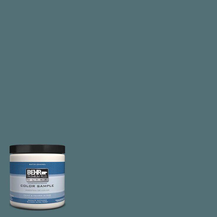 BEHR Premium Plus Ultra 8 oz. #hdc-CL-22 Sophisticated Teal Interior/Exterior Satin Enamel Paint Sample
