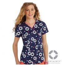 46616CA Antimicrobial Code Happy Mock Wrap Printed Scrub Top on Model