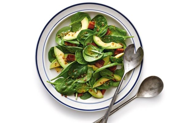 Try this bacon and spinach salad as a side dish at your next barbecue. The avocado makes it extra-special! Photo by Jeff Coulson.